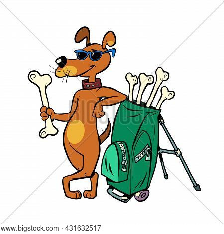 Pets Friendly Golf Club, Cute Dog Character With Bone Clubs. Isolate On A White Background