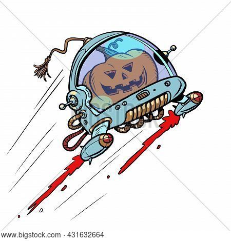 Halloween Pumpkin In Space, An Autumn Holiday. The Terrible Astronaut. Isolate On A White Background