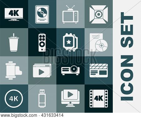 Set 4k Movie, Tape, Frame, Movie Clapper, Cd Or Dvd Disk, Retro Tv, Remote Control, Paper Glass With