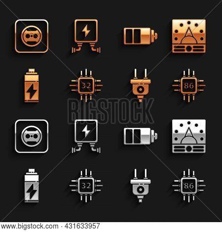 Set Processor With Microcircuits Cpu, Ampere Meter, Multimeter, Voltmeter, Electric Plug, Battery, C