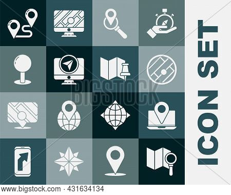 Set Search Location, Laptop With Marker, Folded Map, Monitor, Push Pin, Route And Push Icon. Vector