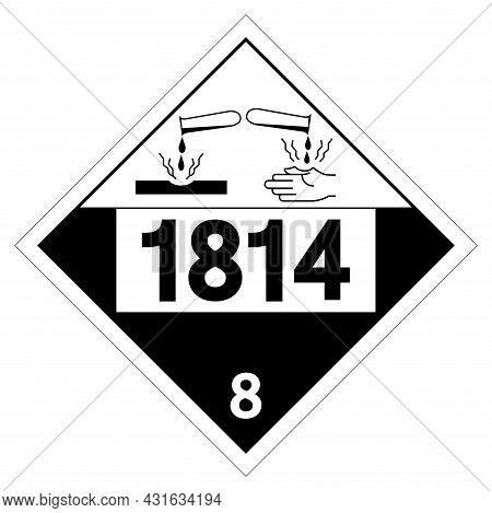 Un1814 Class 8 Potassium Hydroxide Symbol Sign, Vector Illustration, Isolate On White Background Lab