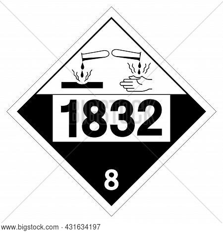 Un1832 Class 8 Sulfuric Acid Spent Symbol Sign, Vector Illustration, Isolate On White Background Lab