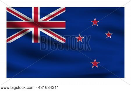 Realistic National Flag Of New Zealand. Current State Flag Made Of Fabric. Vector Illustration Of Ly