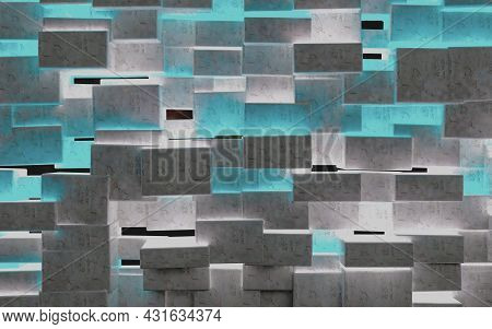 Squar And Blocks Design.abstract Image Of Cubes Background.3d Illustration