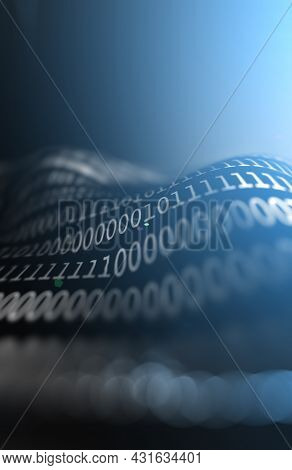 Matrix Concept And Binary Code.virtual Data Transfer.3d Illustration.abstract 3d Background,binary L