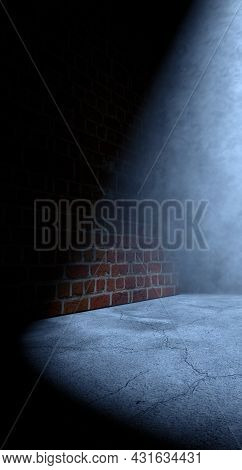 Cement Floor And Brick Wall.street And Urban Background.night And Postlamp Light.3d Illustration