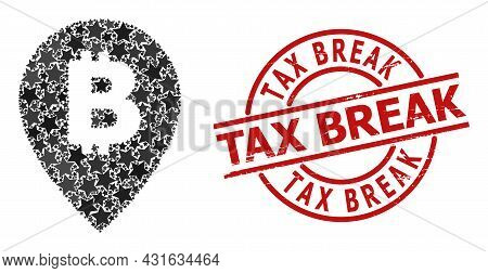 Bitcoin Map Pointer Star Pattern And Grunge Tax Break Seal. Red Watermark With Grunge Surface And Ta