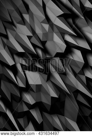 3d Illustration Of Black Textured Surface Background.black Abstract Background.