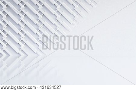 Technology And Elegant White And Grey Shapes Background.3d Illustration.abstract White Pattern Of Ge