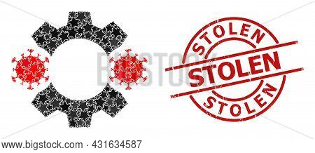Virus Nanobot Star Pattern And Grunge Stolen Seal. Red Seal With Scratched Style And Stolen Tag Insi