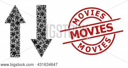Vertical Exchange Arrows Star Mosaic And Grunge Movies Stamp. Red Watermark With Grunge Surface And
