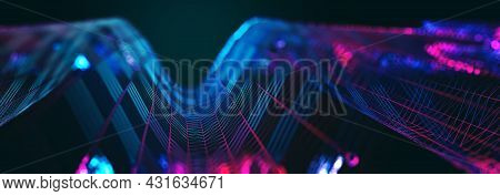 Abstract Wave Background Of Technology And Science.mesh Or Net With Lines And Geometrics Shapes Deta