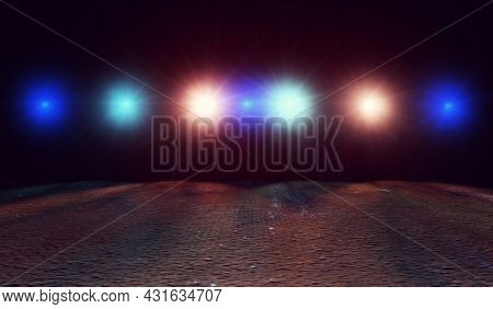 Street Cement And Concrete Floor And Lights.urban Cityscape.abstract Background Road And Asphalt.3d