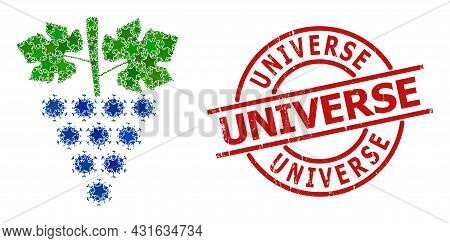 Virus Grapes Bunch Star Pattern And Grunge Universe Stamp. Red Stamp With Grunge Style And Universe