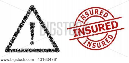 Warning Sign Star Pattern And Grunge Insured Seal. Red Seal With Rubber Texture And Insured Tag Insi