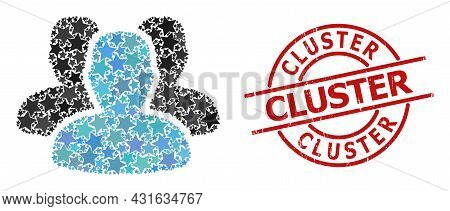 People Star Mosaic And Grunge Cluster Stamp. Red Stamp With Grunge Texture And Cluster Tag Inside Ci