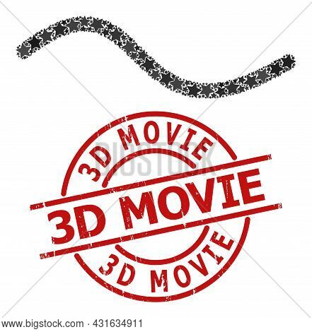 Wave Line Star Pattern And Grunge 3d Movie Stamp. Red Stamp With Corroded Style And 3d Movie Phrase