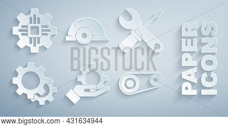 Set Settings In The Hand, Screwdriver Wrench Spanner, Gear, Timing Belt Kit, Worker Safety Helmet An