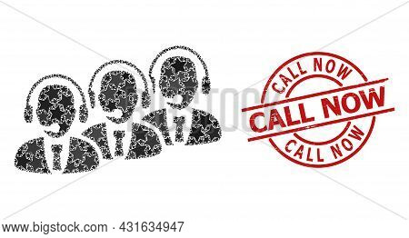 Call Center Staff Star Pattern And Grunge Call Now Seal Stamp. Red Stamp With Unclean Surface And Ca