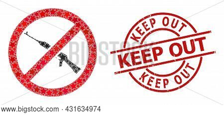 Forbid Kalashnikov Weapon Star Mosaic And Grunge Keep Out Badge. Red Watermark With Scratched Surfac