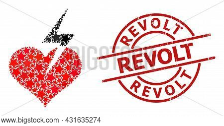 Heart Strike Star Mosaic And Grunge Revolt Seal. Red Seal With Grunge Style And Revolt Caption Insid