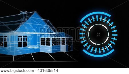 Image of 3d architecture house drawing with scope scanning and data processing. global architecture, technology, data processing and digital interface concept digitally generated image.