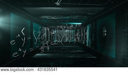 Image of mathematical equations floating over a tunnel made of screens showing mathematical formulae floating. Science and research concept digitally generated image
