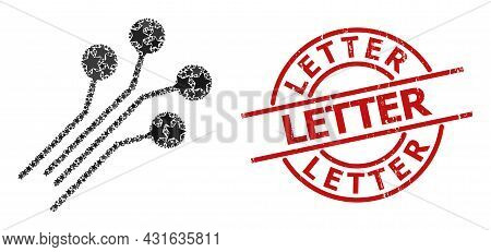 Circuit Connectors Star Mosaic And Grunge Letter Stamp. Red Stamp With Rubber Surface And Letter Wor