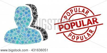 Customers Star Mosaic And Grunge Popular Seal. Red Seal With Grunge Surface And Popular Tag Inside C