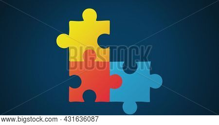 Image of multi coloured puzzle elements forming symbol of Autism Awareness Month symbol on blue background. Autism awareness support concept digitally generated image.