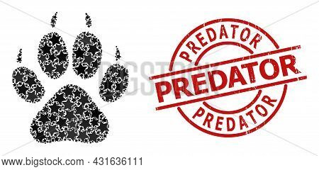 Tiger Footprint Star Mosaic And Grunge Predator Seal Stamp. Red Imprint With Corroded Surface And Pr