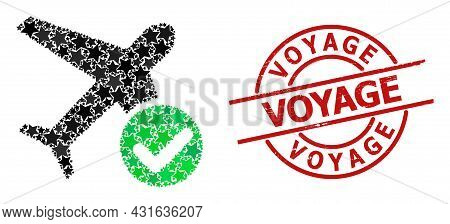 Accept Airplane Star Pattern And Grunge Voyage Badge. Red Stamp With Corroded Surface And Voyage Tex