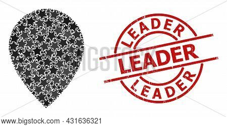 Map Marker Star Pattern And Grunge Leader Stamp. Red Stamp With Grunge Texture And Leader Slogan Ins
