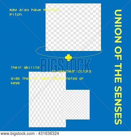 Blue Square Poster Template For Social Media. Union Of The Senses. Put Your Content Under Background