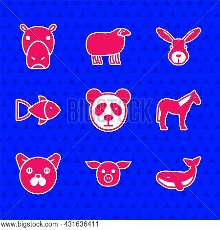 Set Cute Panda Face, Pig, Whale, Horse, Cat, Fish, Rabbit Head And Hippo Hippopotamus Icon. Vector