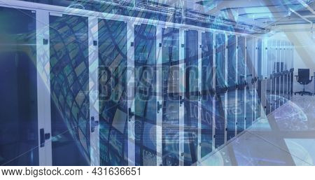 Image of multiple screens with data and information over an empty server room. digital interface global connections concept digitally generated image.