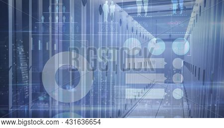 Image of graphs data and information over an empty server room. digital interface global connections concept digitally generated image.