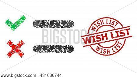Checklist Star Pattern And Grunge Wish List Stamp. Red Imprint With Grunge Style And Wish List Sloga
