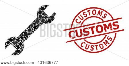 Spanner Star Pattern And Grunge Customs Stamp. Red Stamp With Grunge Style And Customs Caption Insid