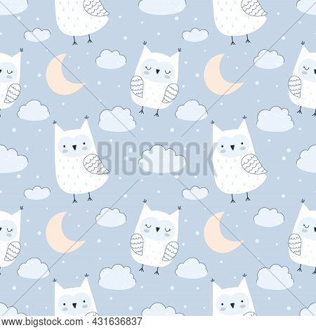 Seamless Vector Pattern With Cute Owls, Clouds, Stars And Moon. Pastel Palette, Blue Background. Vec