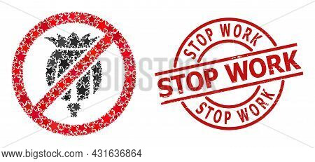 Forbid Opium Poppy Star Pattern And Grunge Stop Work Badge. Red Imprint With Grunge Style And Stop W