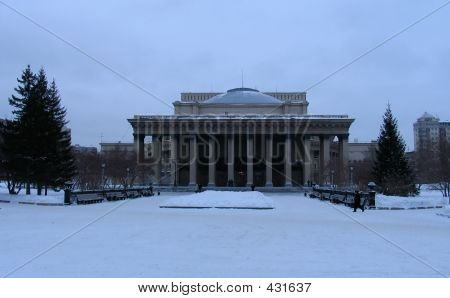 Winter View On Novosibirsk Opera And Ballet Theater