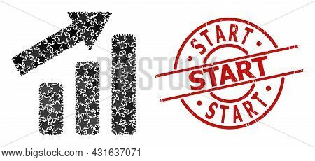 Up Trend Bar Chart Star Pattern And Grunge Start Stamp. Red Stamp With Grunge Texture And Start Capt