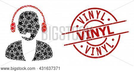 Online Operator Star Mosaic And Grunge Vinyl Badge. Red Watermark With Grunge Surface And Vinyl Phra