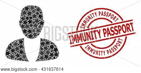 Guy Person Star Mosaic And Grunge Immunity Passport Stamp. Red Stamp With Scratched Style And Immuni