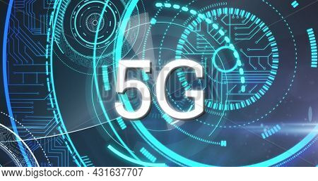 Image of word 5g over shapes made of microprocessor connections. digital interface global connections concept digitally generated image.