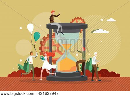 Aging Process Concept Flat Vector Illustration. Human Life Cycle From Infancy To Senior Years. Lifes