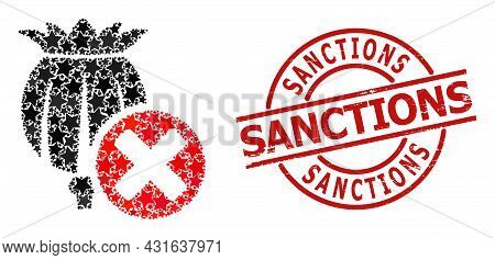 Forbid Poppy Star Pattern And Grunge Sanctions Seal. Red Imprint With Grunge Texture And Sanctions T