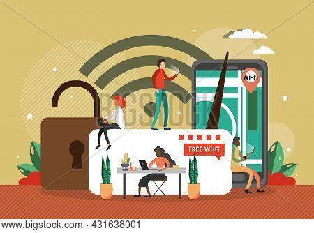 People In Public Wifi Zone, Flat Vector Illustration. Wireless Internet Connection, Free Wifi Hotspo
